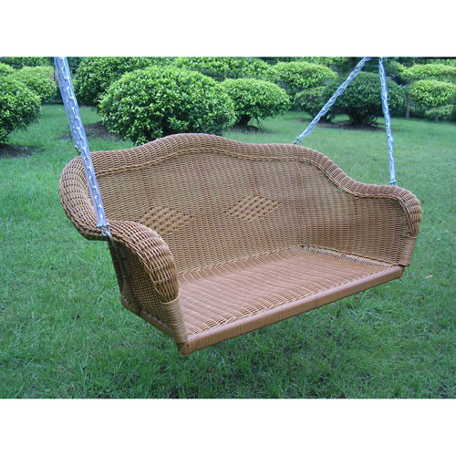 Resin Wicker Hanging Loveseat Swing, Mocha