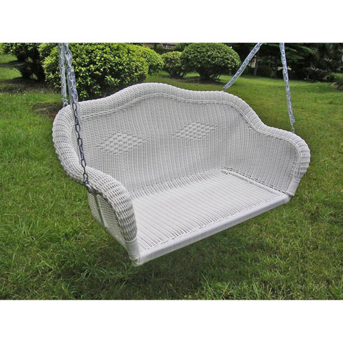 Resin Wicker Hanging Loveseat Swing, White