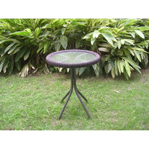 Outdoor Resin Wicker and Glass-top Bistro Table, Antique Pecan