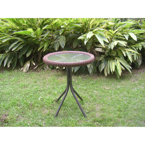 Outdoor Resin Wicker and Glass-top Bistro Table, Mocha