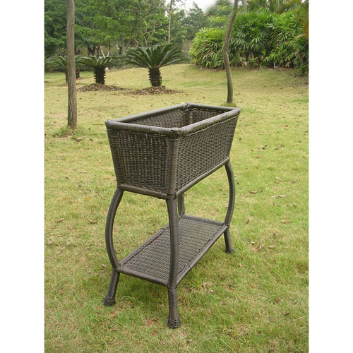 Resin Wicker Antique Black Rectangular Plant Stand