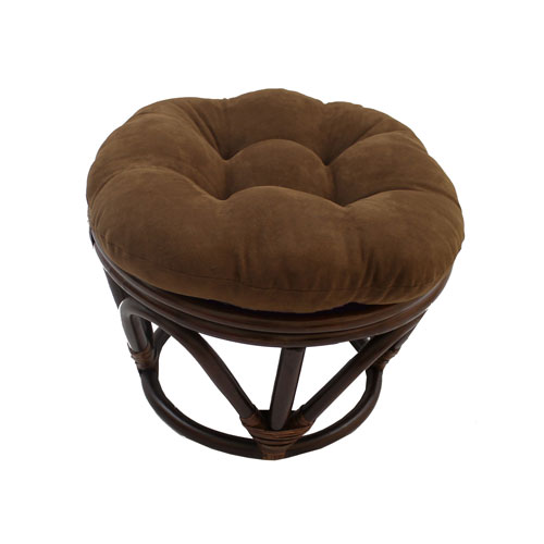 Rattan Ottoman with Micro Suede Cushion, Chocolate