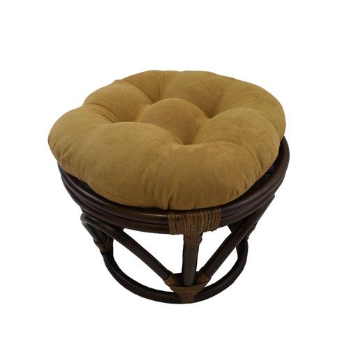 International Caravan Rattan Ottoman with Micro Suede Cushion, Camel