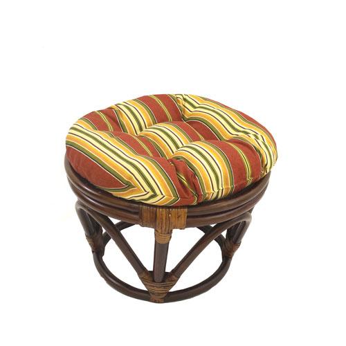 International Caravan Rattan Ottoman with Outdoor Fabric Cushion, Kingsley Stripe
