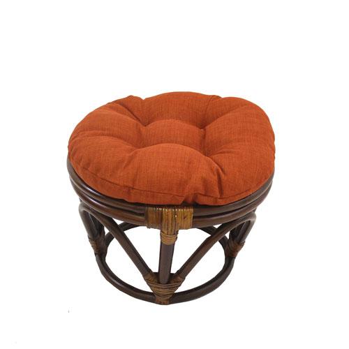 Rattan Ottoman with Outdoor Fabric Cushion, Cinnamon