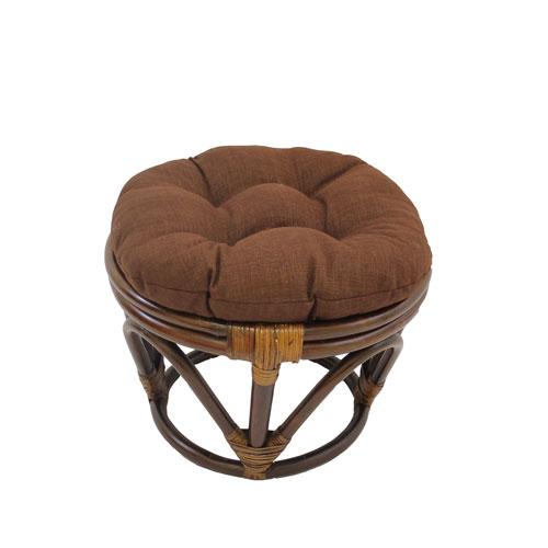 International Caravan Rattan Ottoman with Outdoor Fabric Cushion, Cocoa