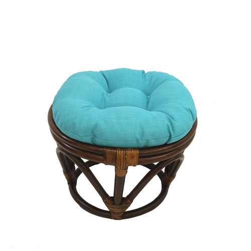 International Caravan Rattan Ottoman with Outdoor Fabric Cushion, Aqua Blue