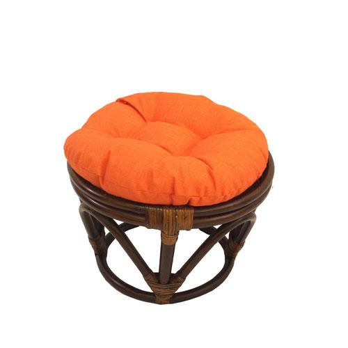 Rattan Ottoman with Outdoor Fabric Cushion, Tangerine Dream