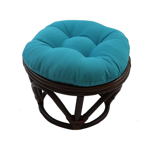 International Caravan Rattan Footstool with Twill Cushion, Aqua Blue