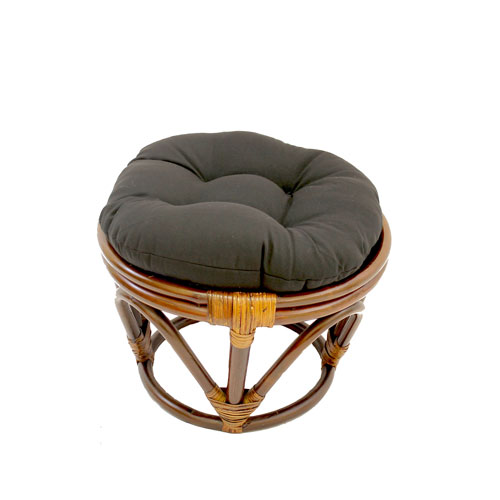 Rattan Footstool with Twill Cushion, Black