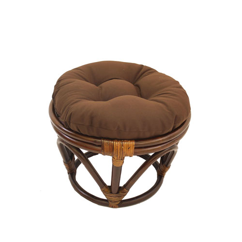 Rattan Footstool with Twill Cushion, Chocolate