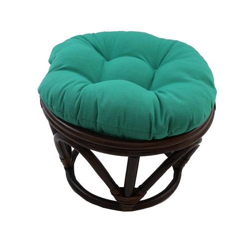 Rattan Footstool with Twill Cushion, Emerald