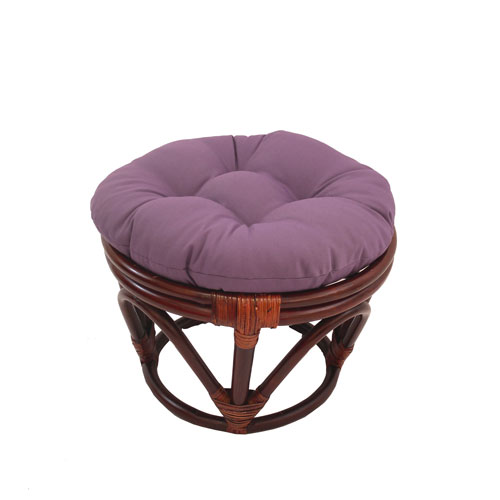 Rattan Footstool with Twill Cushion, Grape