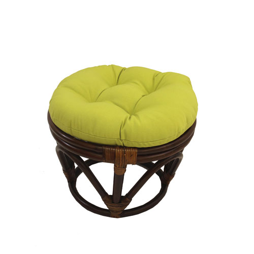 Rattan Footstool with Twill Cushion, Mojito Lime