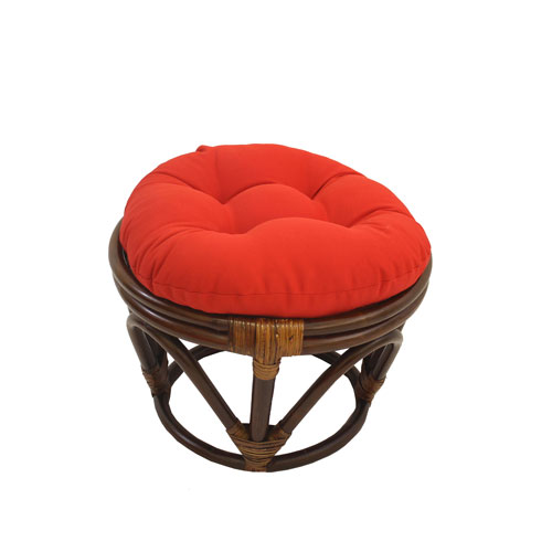 Rattan Footstool with Twill Cushion, Red