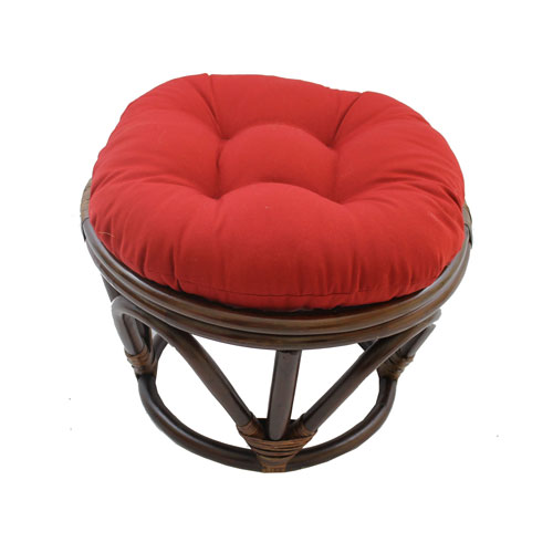 Rattan Footstool with Twill Cushion, Ruby Red