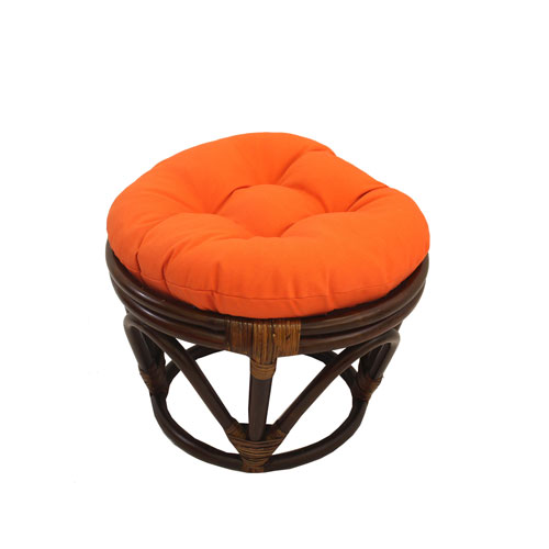 Rattan Footstool with Twill Cushion, Tangerine Dream