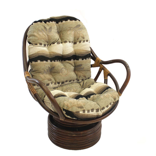 International Caravan Rattan Swivel Rocker with Cushion, Desert Flower