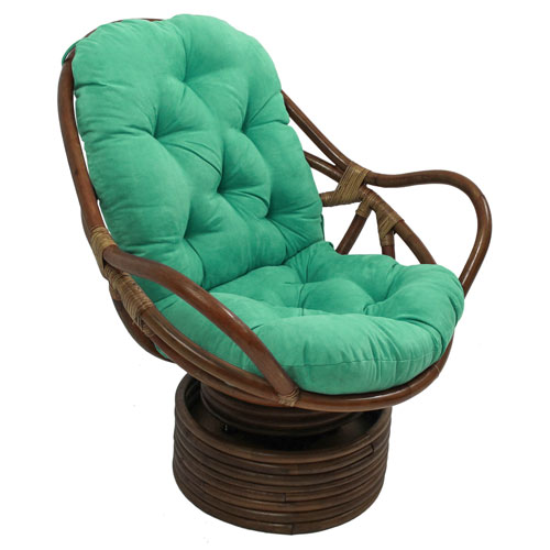 Rattan Swivel Rocker with Micro Suede Cushion, Emerald