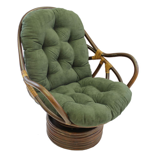 Rattan Swivel Rocker with Micro Suede Cushion, Hunter Green