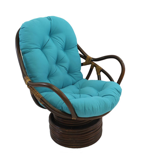 Swivel Rocker with Twill Cushion, Aqua Blue