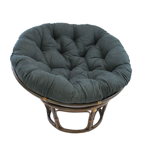 Rattan 42-Inch Papasan Chair with Micro Suede Cushion, Black