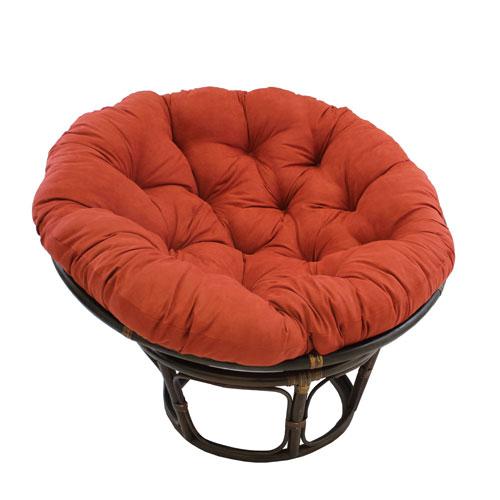 Rattan Cardinal Red Papasan Chair with Micro Suede Cushion