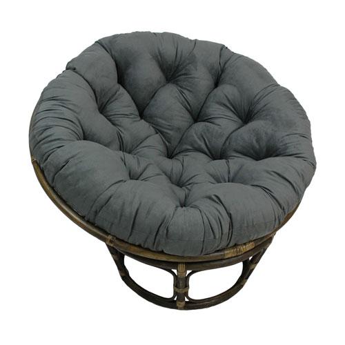 Rattan 42-Inch Papasan Chair with Micro Suede Cushion, Grey