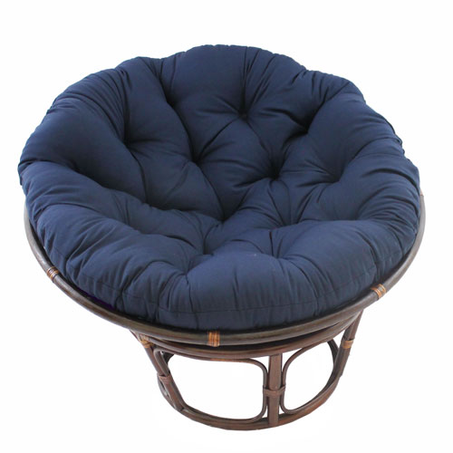 Rattan Navy Papasan Chair with Solid Twill Cushion