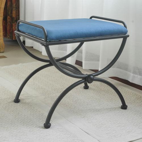 International Caravan Iron Upholstered Vanity Stool 3407 Ms In