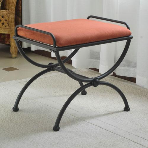 International Caravan Iron Upholstered Vanity Stool 3407 Ms Tc