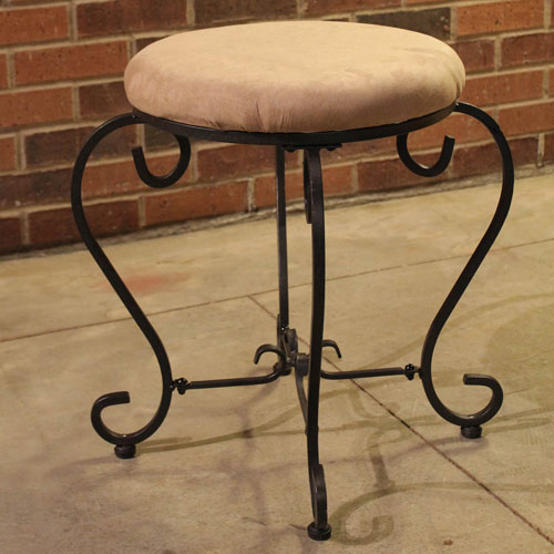 Round Iron Vanity Stool with Cushion