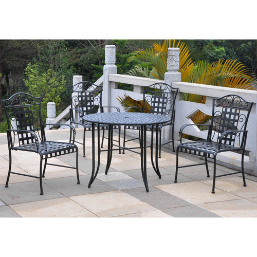 International Caravan Mandalay Antique Black Dining Set, Set of Five