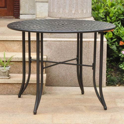 Mandalay Iron Outdoor 39-inch Dining Table, Antique Black