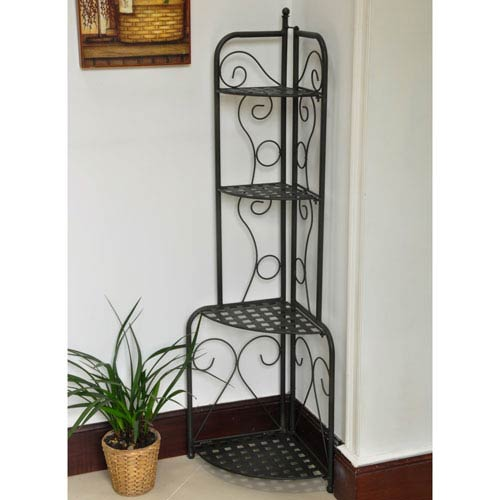 Mandalay Iron Folding Corner Bakers Rack