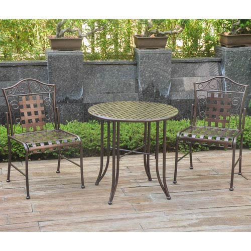 Set of Three Mandalay Iron Bistro Set