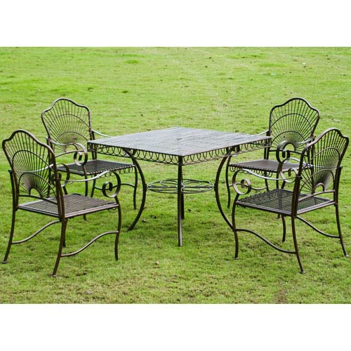 5-Piece Sun Ray Iron Square Dining Group