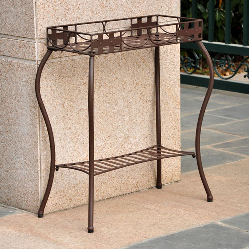 International Caravan Santa Fe Rustic Brown Iron Nailhead Rectangular Plant Stand