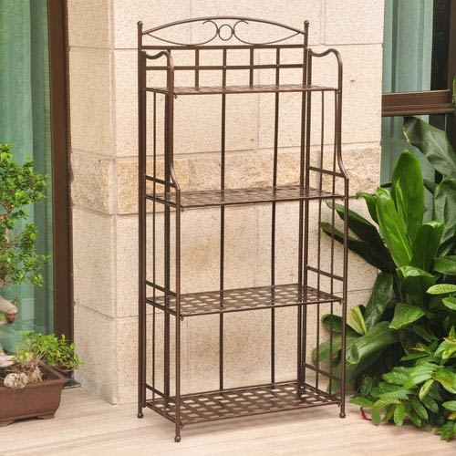 International Caravan Santa Fe Nailhead 4 Tier Bakers Rack
