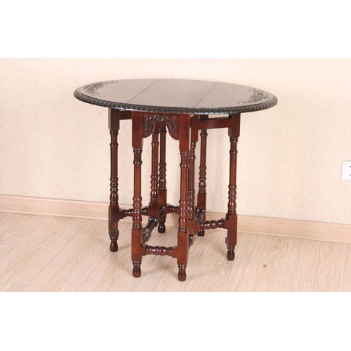 International Caravan Carved Wood Oval Fold-Out Table