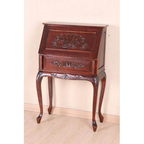 Small Carved Secretary Desk with Fold Out Front