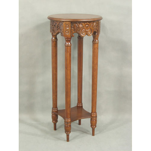 International Caravan Carved Round Tall Plant Table