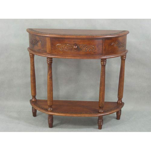 International Caravan Carved Half Moon Hall Table