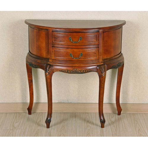 International Caravan Half Moon Wood Wall Table With Two Drawers