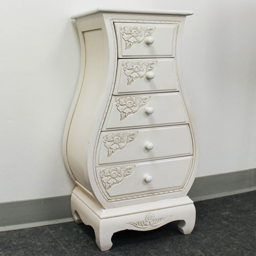 Carved Wood Five Drawer Bombay What Not, Antique White