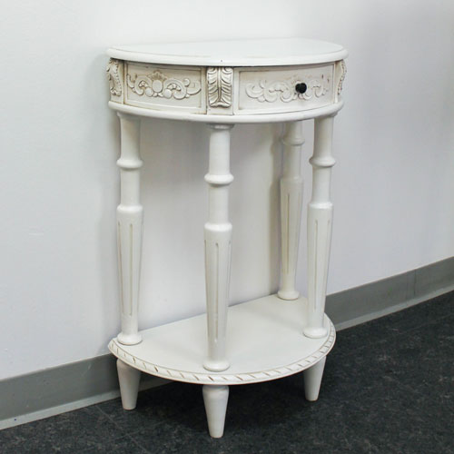 Acacia Antique White Carved Small Half Moon Two Tier Wall Table