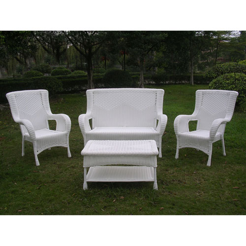 San Tropez 4-Piece Outdoor Seating Group, White
