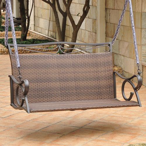 Valencia Resin Wicker/Steel Loveseat Swing