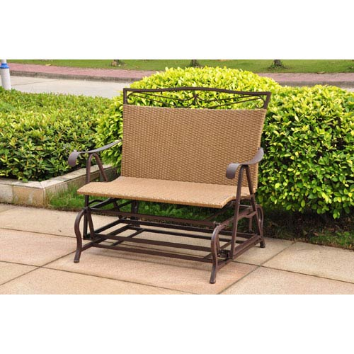 International Caravan Valencia Resin Wicker/Steel Double Glider