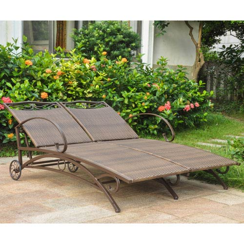 Valencia Antique Brown Multi Position Double Chaise Lounge